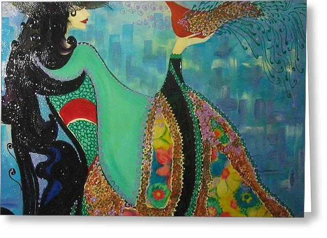 Persian Women With The Bird Greeting Card