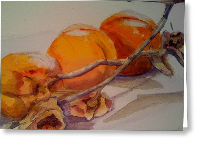 Persimmons Greeting Card by KC Winters