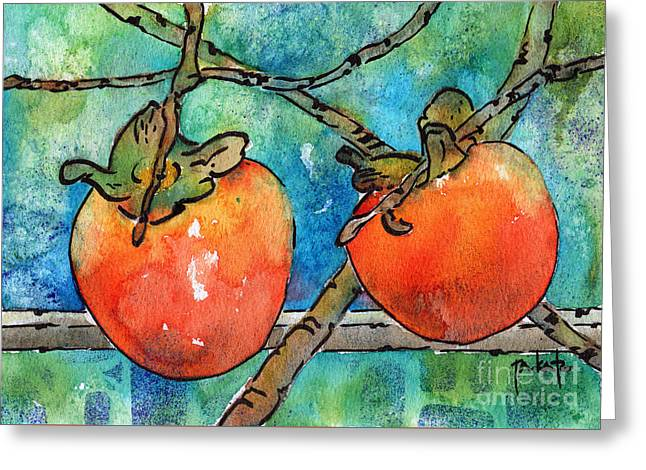 Persimmons Of Provence Greeting Card by Pat Katz