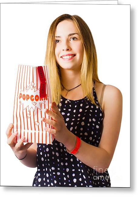 Person At Movie Cinema With Popcorn Bag Greeting Card by Jorgo Photography - Wall Art Gallery