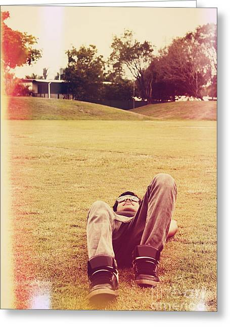 Person Lying Down On Back At The Local Park Greeting Card