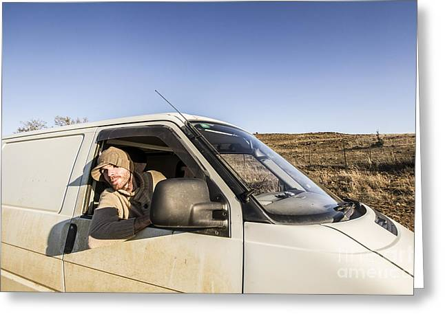 Person On Road Trip In Tasmania Greeting Card by Jorgo Photography - Wall Art Gallery
