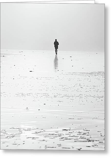Person Running On Beach Greeting Card
