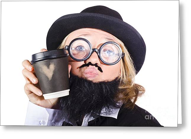 Person With Cup Of Coffee Greeting Card