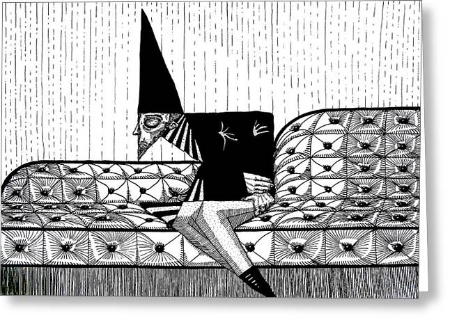 Person With Fool's Cap Resting In Sofa In Black And White Original Pen Art By Rune Larsen Greeting Card by Rune Larsen