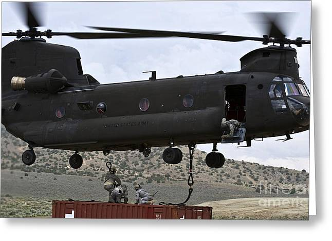 Personnel Attach A Storage Container Greeting Card by Stocktrek Images