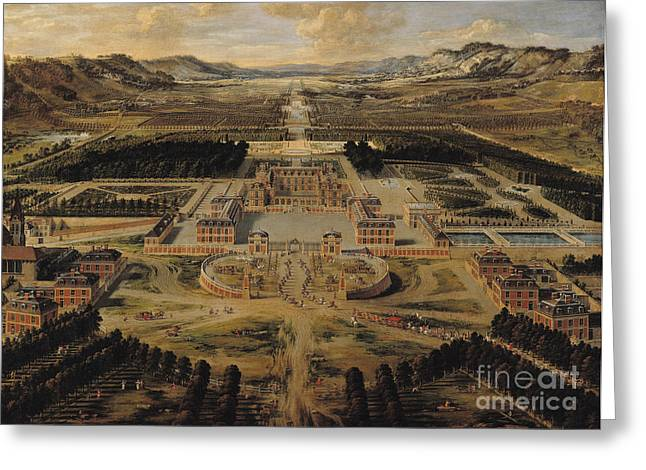 Chateau Greeting Cards - Perspective view of the Chateau Gardens and Park of Versailles Greeting Card by Pierre Patel