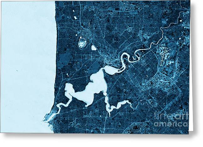 Perth Abstract City Map Top View Dark Greeting Card by Frank Ramspott