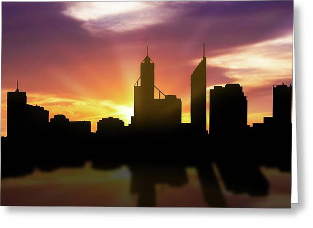 Perth Skyline Sunset Aupe22 Greeting Card by Aged Pixel