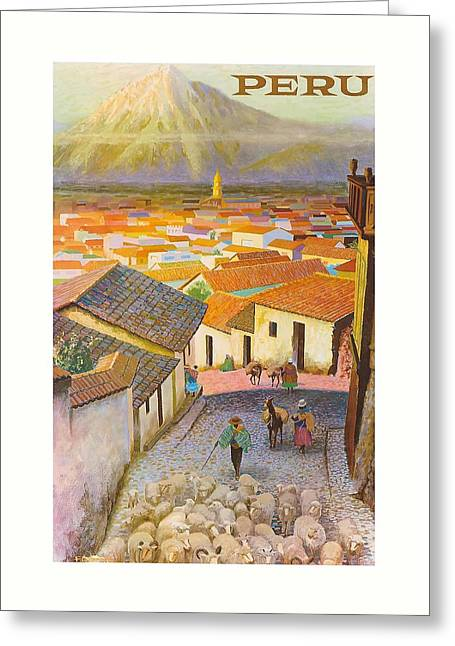 Peru El Misti Volcano Vintage Travel Poster Greeting Card by Retro Graphics