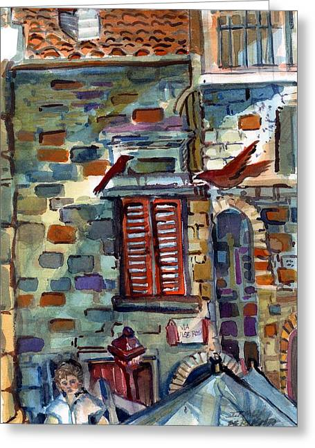 Perugia Street Cornor Greeting Card by Mindy Newman