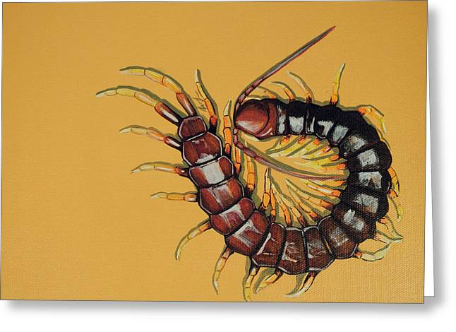 Greeting Card featuring the painting Peruvian Centipede by Jude Labuszewski