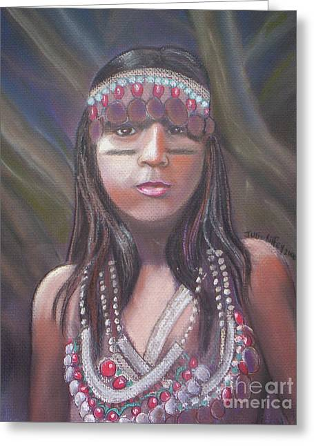 Greeting Card featuring the pastel Peruvian Girl by Julie Brugh Riffey