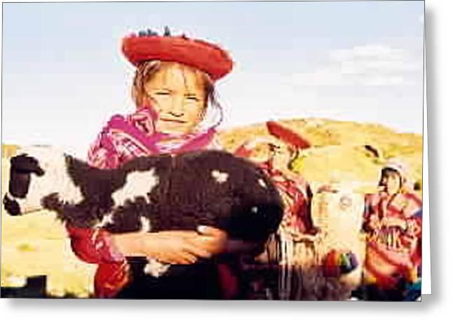 Peruvian Girl Greeting Card by Kathy Schumann