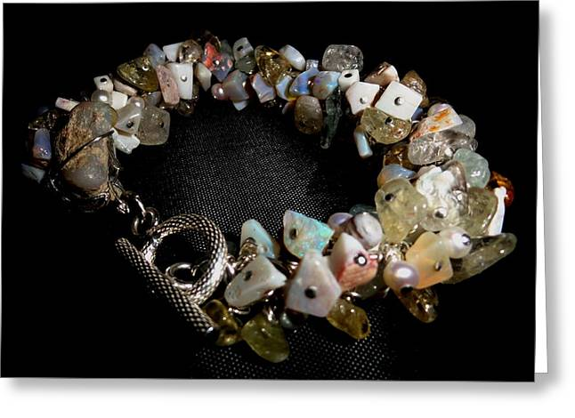 peruvian opal nugget, aquamarine, cultured pearl Bracelet Greeting Card by Karen Matthews