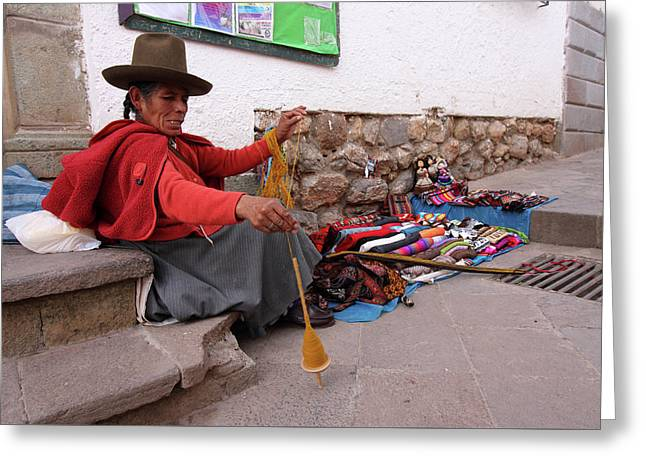 Peruvian Weaver Greeting Card by Aidan Moran