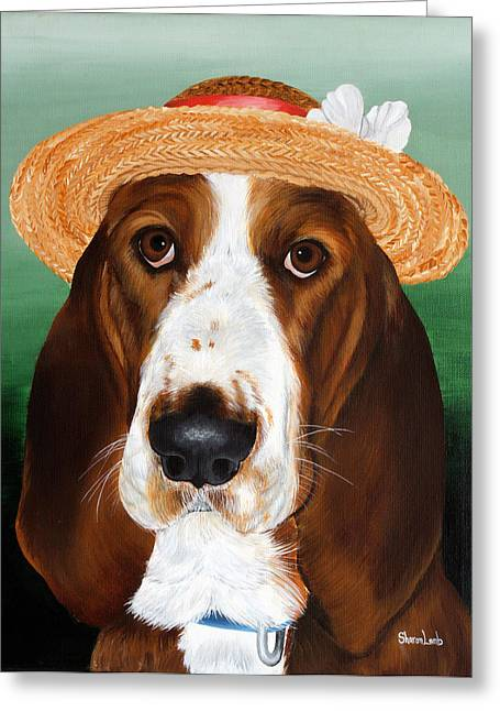 Pet Portrait Painting Commission Dogs Cats Horses  Greeting Card by Sharon  Lamb