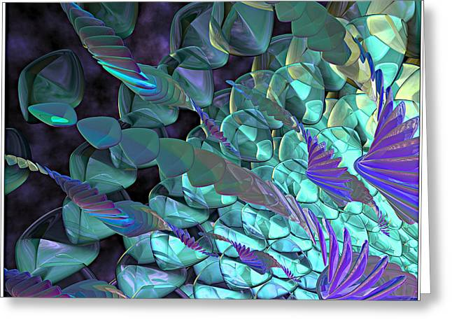 Glasses Reflecting Digital Greeting Cards - Petal Abstract Greeting Card by Peter J Sucy