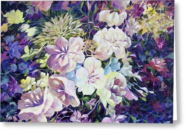 Greeting Card featuring the painting Petals by Joanne Smoley