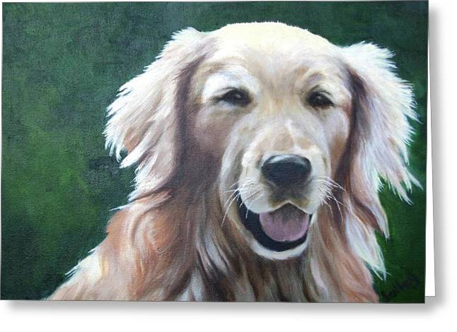 Greeting Card featuring the painting Pete by Nancy Jolley