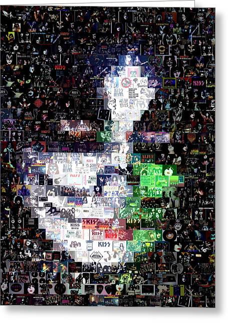 Peter Criss Kiss Mosaic Greeting Card by Paul Van Scott