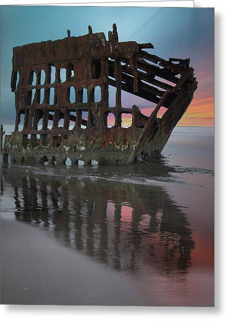Peter Iredale Shipwreck At Sunrise Greeting Card