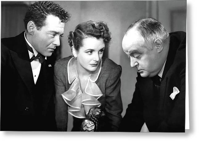 Peter Lorre Mary Astor Sydney Greenstreet The Maltese Falcon 1941 Greeting Card by David Lee Guss