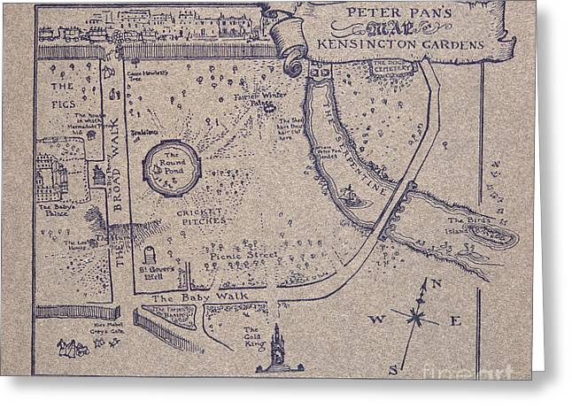 Peter Pan's Map Of Kensington Gardens Greeting Card by Arthur Rackham