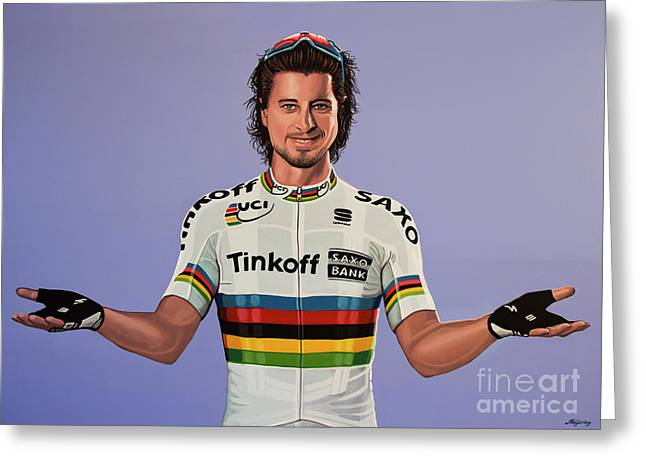 Peter Sagan Painting Greeting Card by Paul Meijering