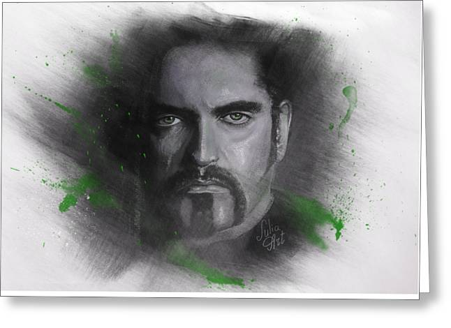 Greeting Card featuring the drawing Peter Steele, Type O Negative by Julia Art