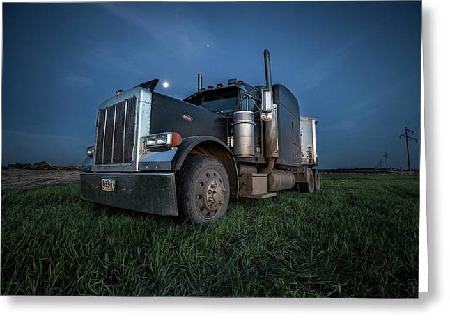 Peterbilt Moon Greeting Card by Aaron J Groen