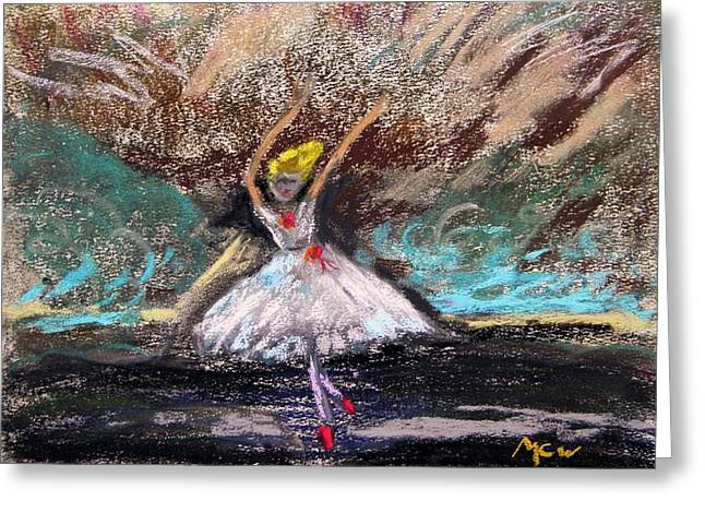 Greeting Card featuring the painting Petite Ballerina by Mary Carol Williams
