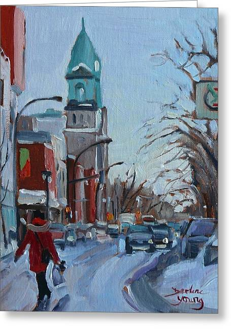 Petite Italie, Montreal Winter Scene Greeting Card by Darlene Young