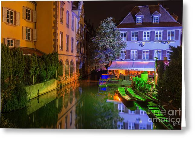 Petite Venise Colmar At Night  Greeting Card