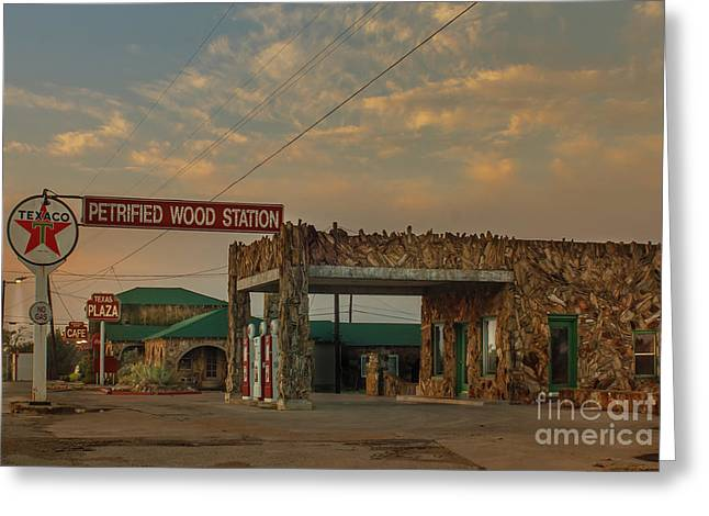Petrified Gas Station After Rain Greeting Card