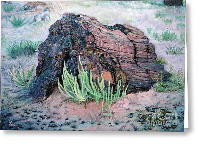 Greeting Card featuring the painting Petrified Log In Arizona by Cindy Lee Longhini