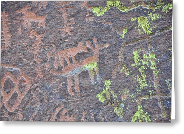 Petroglyph Wolf Attack Greeting Card