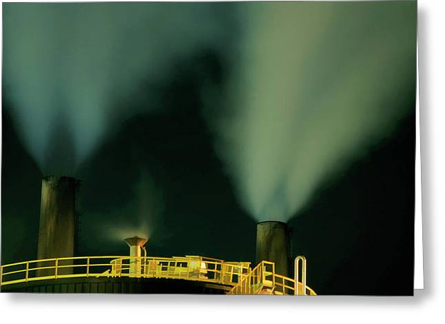 Problem Greeting Cards - Petroleum refinery chimneys at night Greeting Card by Sami Sarkis