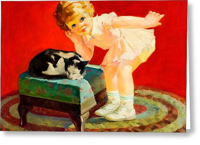 Greeting Card featuring the painting Petting The Cat George Leslie Rapp 1920 by Peter Gumaer Ogden