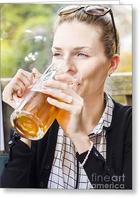 Petty Woman Drinking Beer Stein During Oktoberfest Greeting Card by Jorgo Photography - Wall Art Gallery