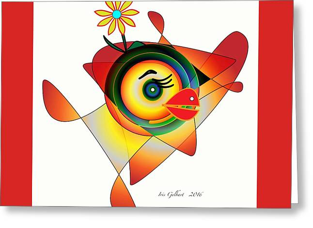 Petunia Parrot Greeting Card by Iris Gelbart