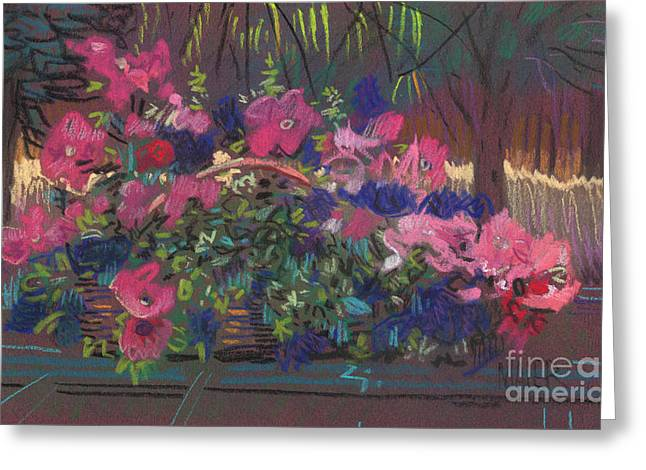 A Basket Of Petunias Greeting Card by Donald Maier