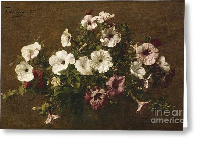 Signature Greeting Cards - Petunias Greeting Card by Ignace Henri Jean Fantin-Latour