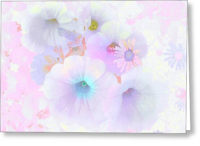 Petunias In Pastel - Floral Abstract Greeting Card by Rayanda Arts