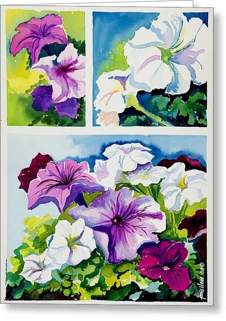 Petunias In Summer Greeting Card by Janis Grau