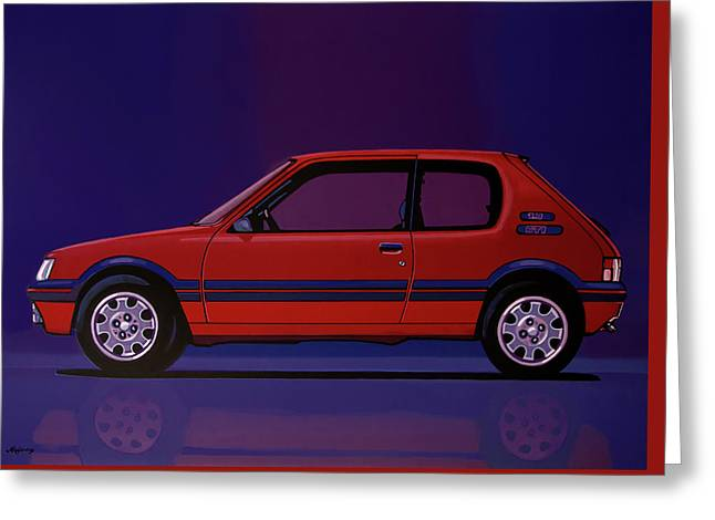 Peugeot 205 Gti 1984 Painting Greeting Card