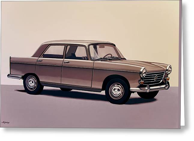 Peugeot 404 1960 Painting Greeting Card