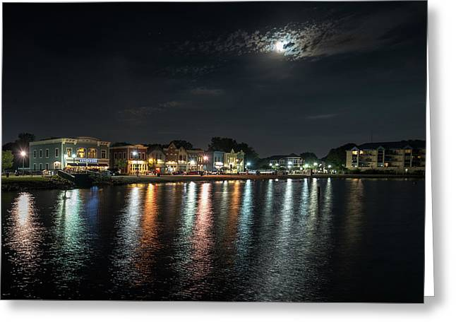 Pewaukee At Night Greeting Card
