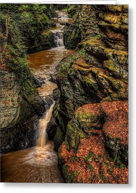 Pewits Nest Three Waterfalls Greeting Card