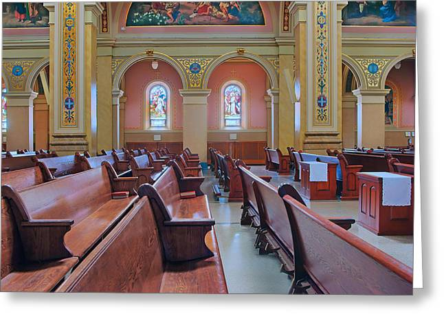 Pews - Saint Mary Of The Angels - Chicago Greeting Card